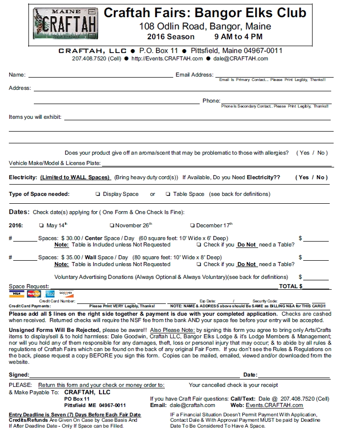 Craftah Fairs Elks Club Application