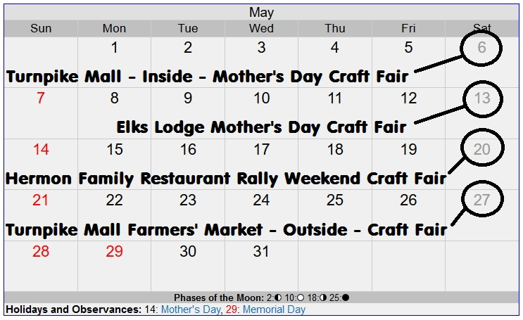 May Event for Craftah Fairs